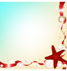 Background with Shells and Red Ribbons vector image