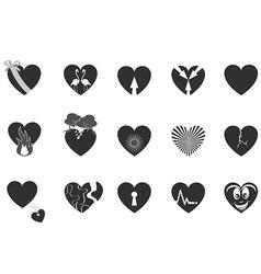 black loving heart icon vector image vector image