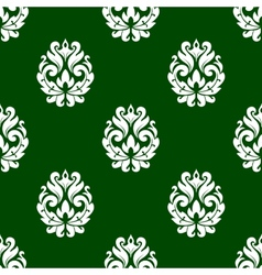 Green floral damask style seamless pattern vector image