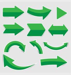set of green arrow stickers vector image