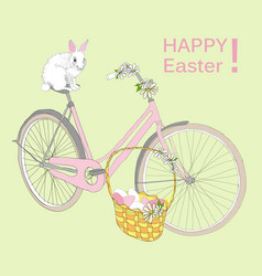 drawing happy easter template vector image vector image