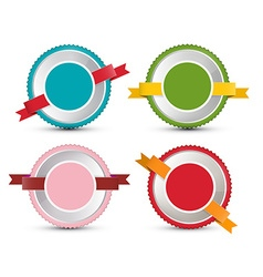 Empty Label Set Retro Circle Tags Isolated on vector image