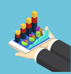 isometric businessman hands holding tablet with vector image