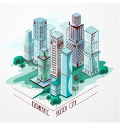 Isometric Sketch City Colored vector image