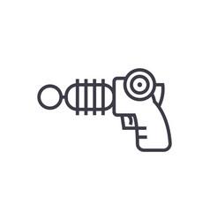 plasma gun line icon sign on vector image vector image