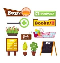 Shop facade signboard elements set vector image vector image