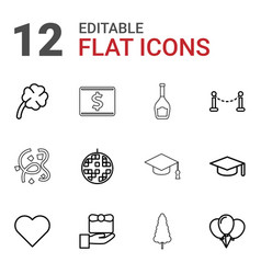 12 celebration icons vector