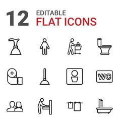 12 toilet icons vector