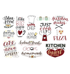 14 hand-lettering quotes about food coffee tea vector image