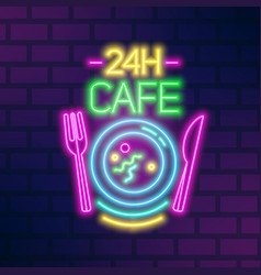 24h cafe neon sign on brick wall flat vector