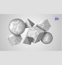 3d decorative figures of a cube triangle and vector image