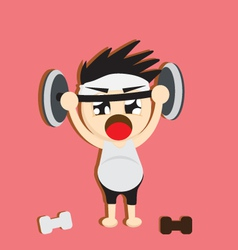 a boy lifting weights vector image