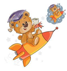 A cheerful brown teddy bear vector