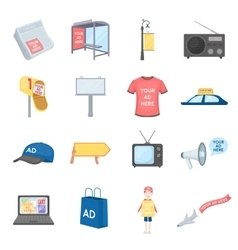 Advertising set icons in cartoon style Big vector