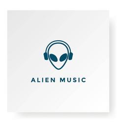 Alien headset dj music podcast logo design vector