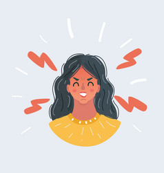 angry emoticon female woman vector image