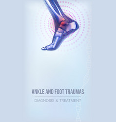 Ankle and foot traumas banner vector