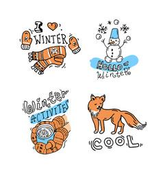 beautiful hand drawn winter vector image