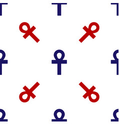 Blue and red cross ankh icon isolated seamless vector