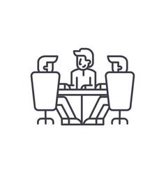 board of directors meeting line icon concept vector image
