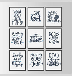 Books and reading lettering set hand drawn vector