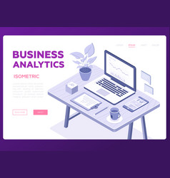 business analytics banner - modern vector image