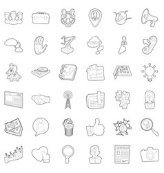 businesswoman icons set outline style vector image