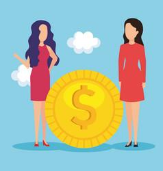businesswomen with coin money vector image