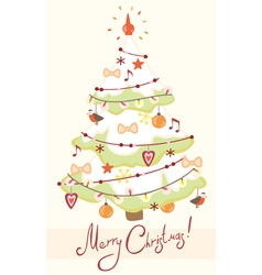 Card with decorated Christmas tree vector image