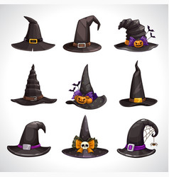 cartoon black witch hats icons set wizard hat vector image
