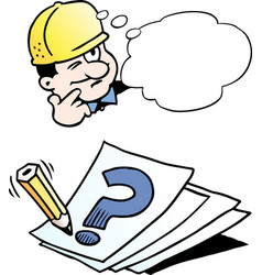 Cartoon of a engineer thinking of a solution vector