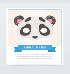 Cartoon panda s mask for face character in flat vector