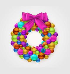 christmas round garland vector image