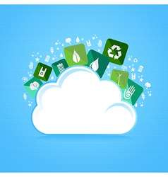 Cloud computing eco friendly icons vector