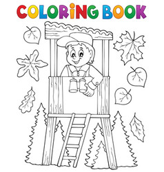 Coloring book forester theme 1 vector