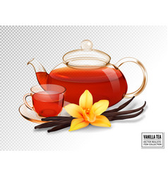 Composition of a glass cup and tea pot with tea vector