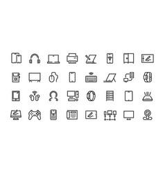 Computers line icons desktop pc laptop vector