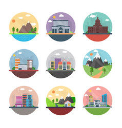 Countryside and cityscape flat icons vector
