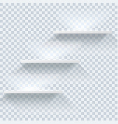 Empty white shelves with lighting effecton vector