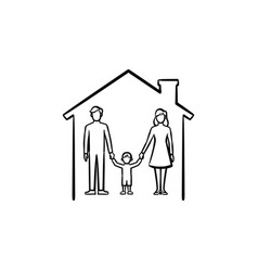 family house hand drawn sketch icon vector image