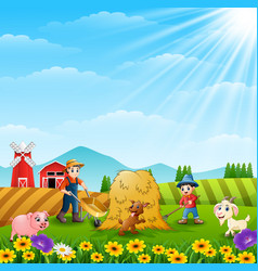 Farmers activities with animal on the farm vector
