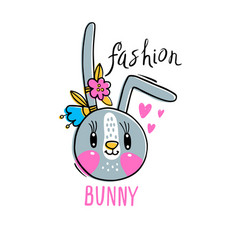 fashion kawaii bunny a vector image