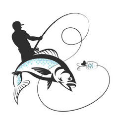 Fisherman with a fishing rod and fish vector