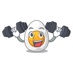 Fitness cartoon boiled egg sliced for breakfast vector