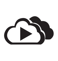 Flat black cloud play button icon vector