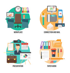 Flat colorful office elements collection vector
