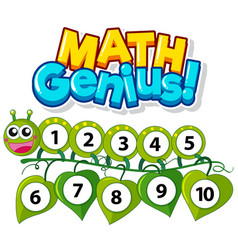 Font design for math genius with numbers one to vector