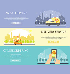 Food delivery banners order pizza online vector