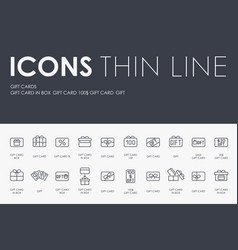 gift cards thin line icons vector image