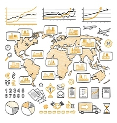 Global business doodle concept vector